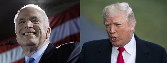 도널드 트럼프 미국 대통령과 지난 25일 작고한 존 매케인 상원의원[AP,EPA=연합뉴스]