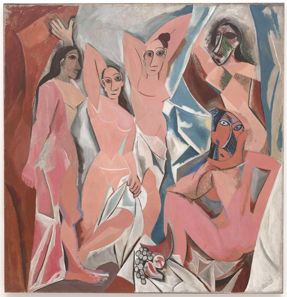 입체주의 사조의 가장 유명한 화가 파블로 피카소. <아비뇽의 처녀들(Les Demoiselles d'Avignon) 1907> 파블로 피카소, 입체파, 뉴욕 현대미술관(미국, 뉴욕), Oil paint, 233.7 x 243.9 cm [출처 wikipedia]