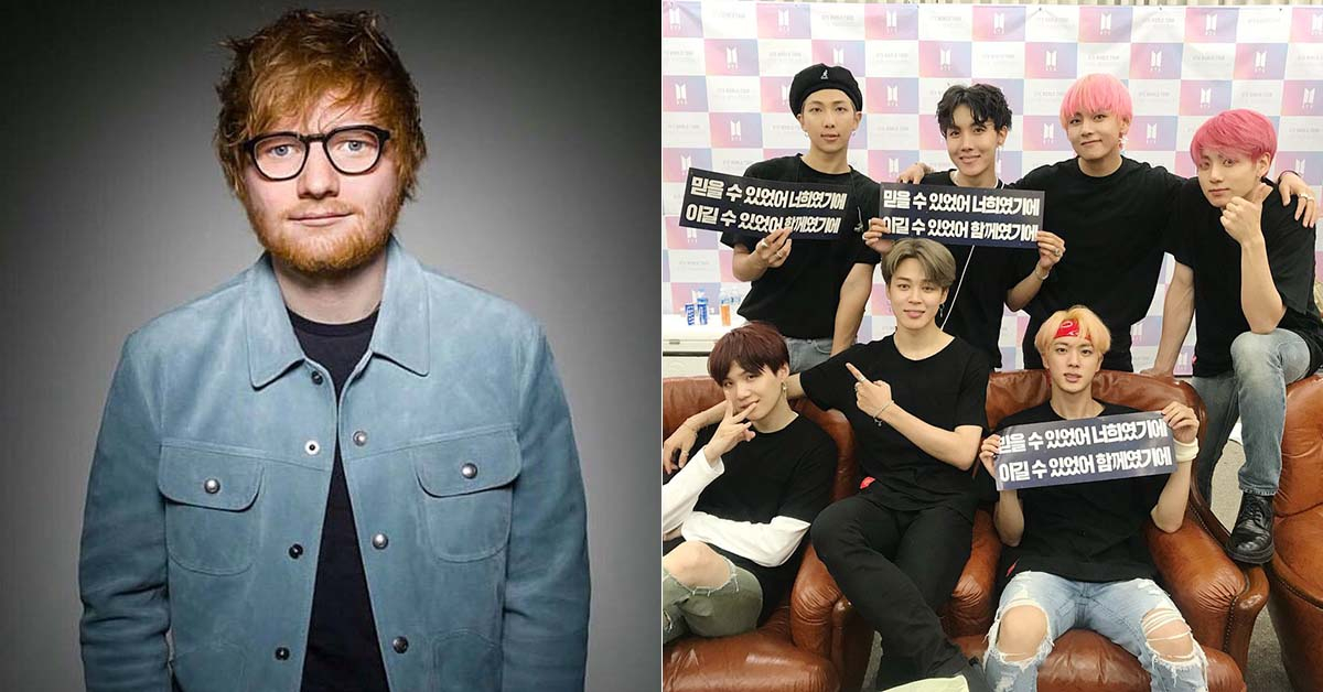 Photos from Ed Sheeran Facebook and BTS Twitter