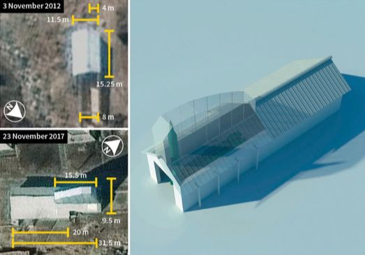 IHS마킷 제인스가 최근 공개한 북한 황해도 갈골 미사일 기지의 모습. 2017년 위성사진(왼쪽 아래)에서는 2012년 위성사진(왼쪽 위)에서 볼 수 없는 아치형 고측창(지붕 위로 돌출시킨 창)이 확인됐다. 이 시설의 높이는 13~14m 정도로 미사일을 세워 보관할 수 있어 발사 준비 시간이 크게 단축된다(오른쪽 사진). 이 시설은 남한 전역을 사거리로 둔 스커드 미사일용으로 분석됐다. [사진 디지털 글로브/제인스]