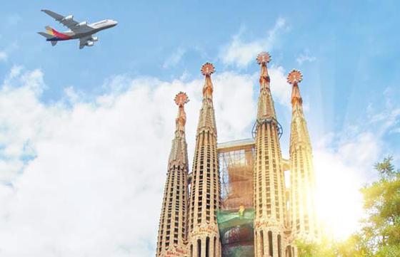 아시아나항공은 지난 30일 바르셀로나에 취항했다. 2022년까지 장거리 여객기 32대를 확보해 '장거리 네트워크 중심 항공사'로 도약할 계획이다. [사진 아시아나항공]