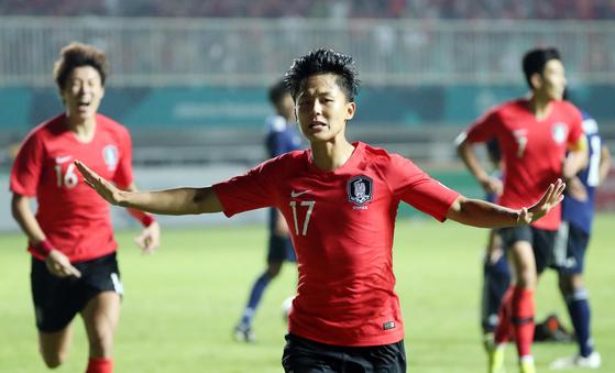 일본의 결승전이 1일 인도네시아 보고르 치비농 파칸사리 스타디움에서열렸다. 연장 전반에 이승우가 첫 골을 넣고 세리머니를 하고 있다. 치비농=김성룡 기자