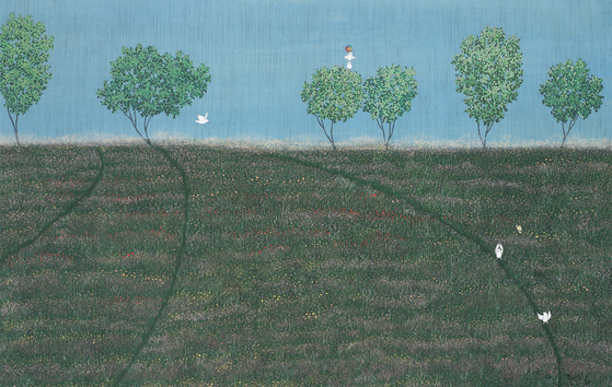 이영지,'두근두근 쿵쿵쿵'(장지 위에 분채,140*90cm). 들꽃과 풀의 섬세한 묘사가 돋보인다.[사진 선화랑]
