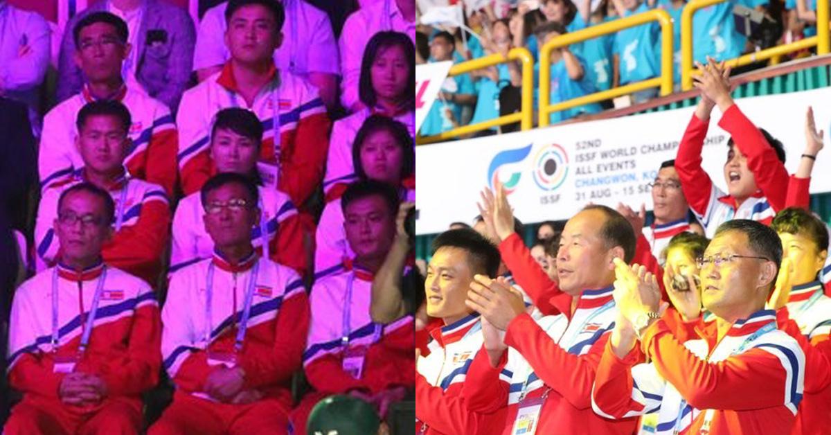 1일 오후 경남 창원시 창원체육관에서 열린 2018 창원세계사격선수권대회 개회식에서 해군 의장대 공연을 보고 있는 북한선수단(왼쪽)이 인공기가 등장하자 박수를 치며 즐거워했다(오른쪽) [연합뉴스]