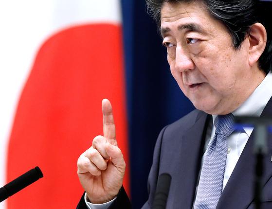 아베 신조 일본 총리 [EPA=연합뉴스]essions, in Tokyo, Japan, 20 July 2018. [EPA]