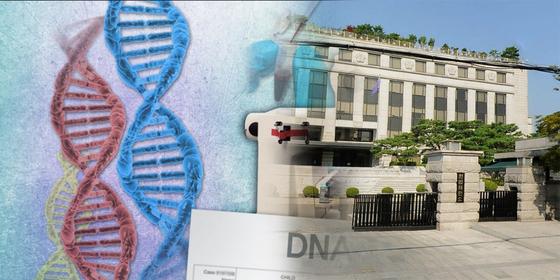 DNA 감정 자료 이미지. 오른쪽은 서울 종로구에 있는 헌법재판소. [사진 연합뉴스, 다음로드뷰]