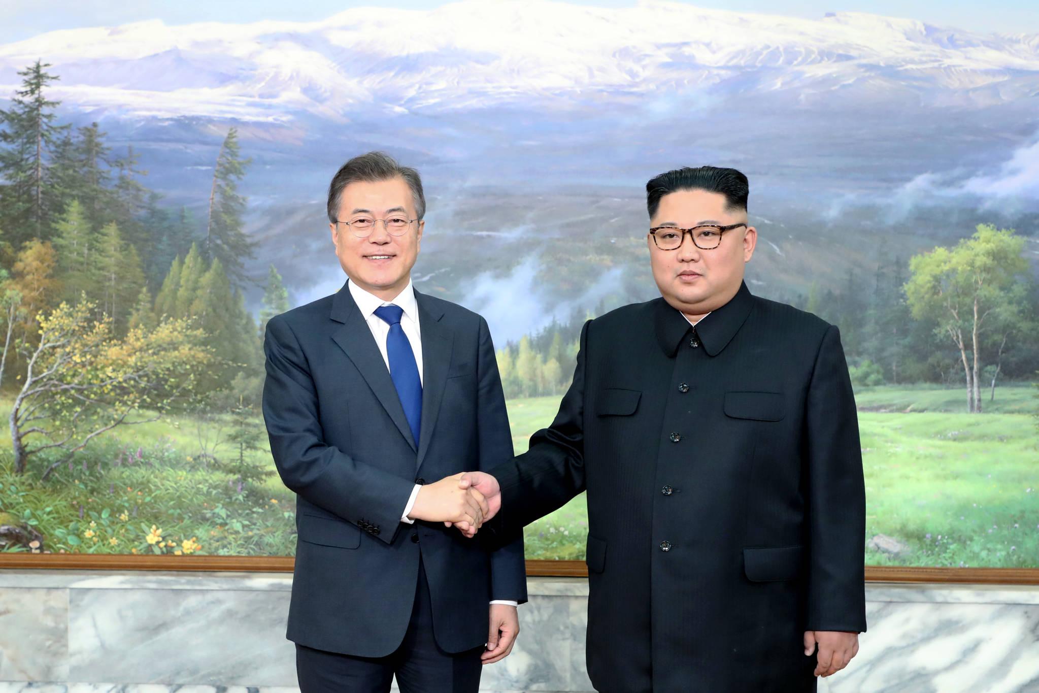 문재인 대통령(왼쪽)과 김정은 국무위원장. [사진 청와대]
