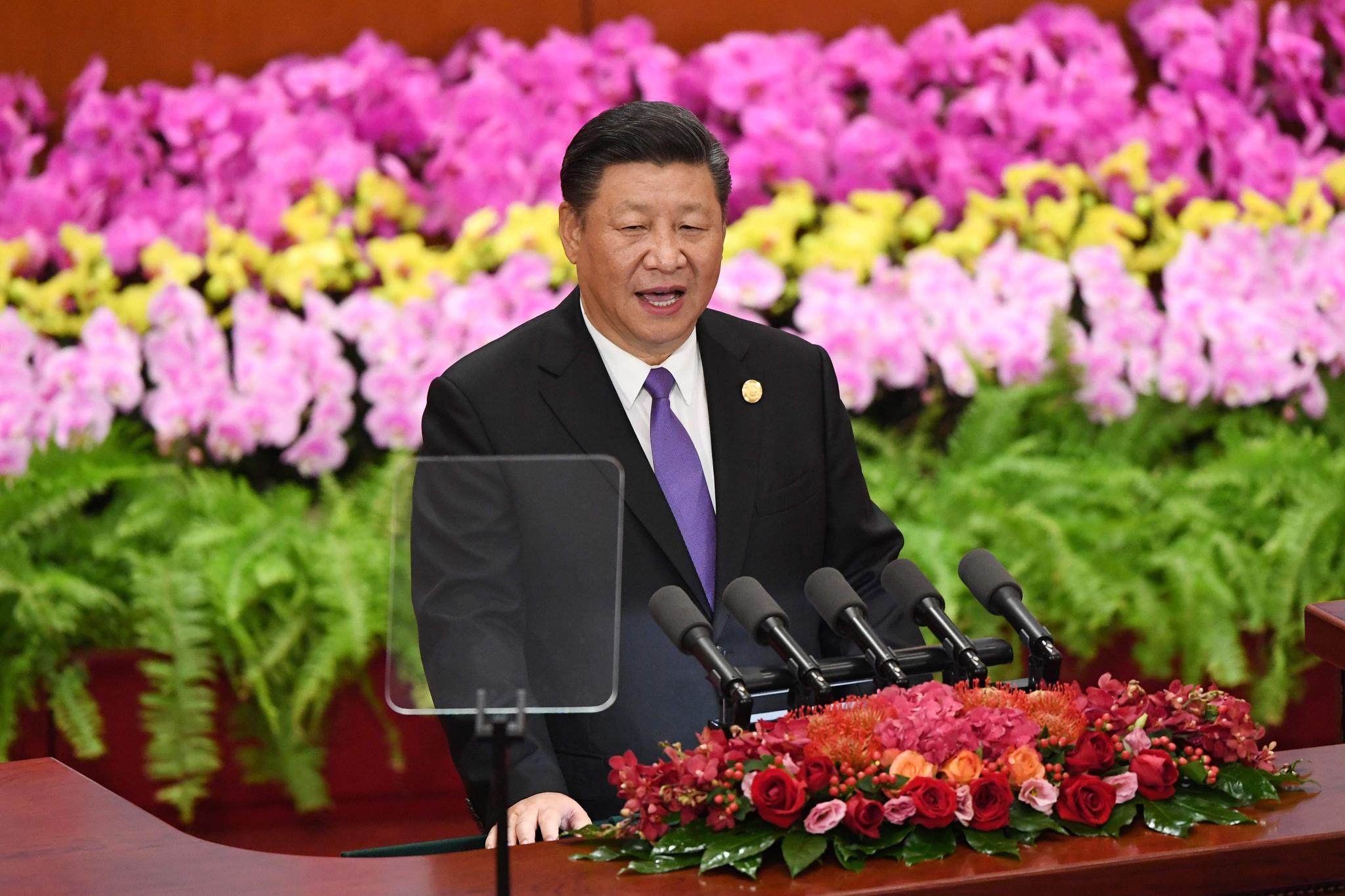 시진핑 중국 국가 주석이 3일 베이징 인민대회당에서 열린 중국-아프리카 협력 정상회의에 참석해 기조연설하고 있다. [AFP=연합뉴스]