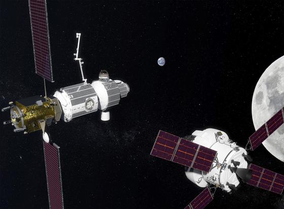 미국 항공우주국(NASA)이 구상 중인 달 궤도 우주정거장. [사진 NASA]