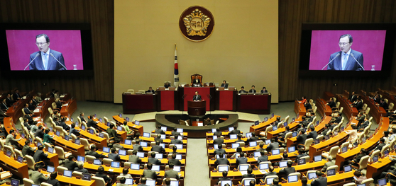 이해찬 대표는 지난 4일 국회 본회의 교섭단체 대표연설에서 공공기관 122곳을 지방으로 이전하기 위해 당정 간 협의하겠다고 밝혔다. [연합뉴스]