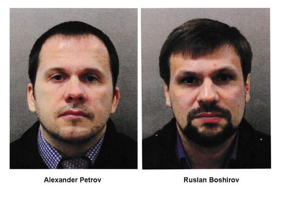 전직 러시아 이중스파이 독살 시도 용의자로 영국 검찰이 기소한 러시아 남성 두명 [영국 경찰청 제공]