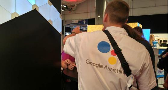 구글 홍보요원들이 IFA 2018 전시장 곳곳에 선보인 자사의 AI 플랫폼을 소개하고 있다.