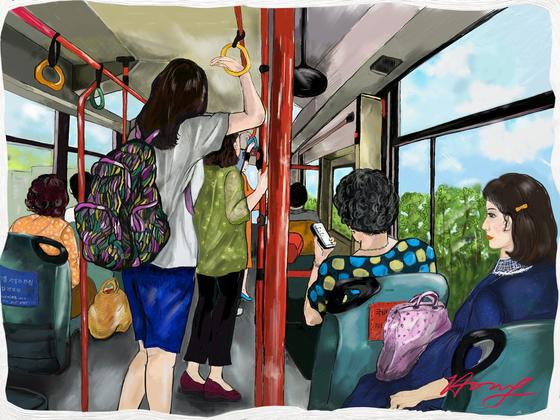 마을버스 풍경, by 갤럭시 노트5 S노트. [그림 홍미옥]