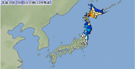 6일 오전 3시 8분 일본 홋카이도 삿포로 남동쪽 66km 지역에서 규모 6.7의 지진이 발생했다고 일본 기상청이 밝혔다. [사진 일본 기상청]