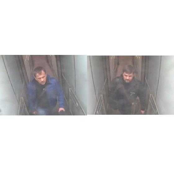 전직 러시아 이중스파이 독살 용의자들이 런던 게트윅공항에 입국하는 모습이 CCTV에 찍혔다. [영국 경찰청 제공]