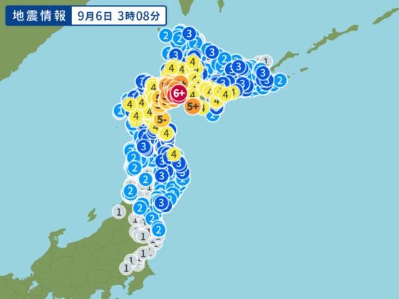 홋캬이도 지진으로 인한 각 지역의 진도를 표시한 지도. [사진 야후재팬 캡처]