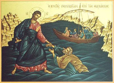 물 위를 걷던 베드로는 폭풍을 보는 순간, 놓았던 에고의 운전대를 다시 잡았다. 그 순간, 그의 몸이 물 속으로 빠져들었다.
