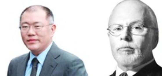 정의선 현대차 부회장(좌)과 폴 싱어 엘리엇매니지먼트 회장. [중앙포토]
