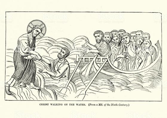 9세기에 제작된 작자 미상의 작품. 물 위를 걷는 예수가 베드로의 손을 잡고 있다.