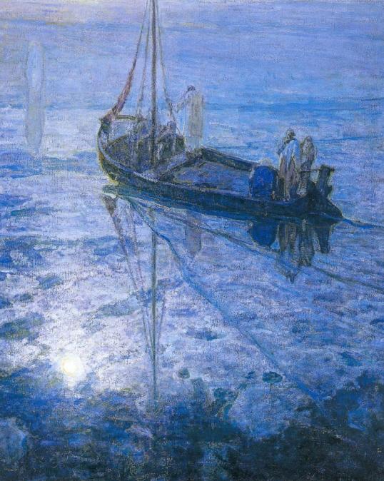 헨리 오사와 타너의 1907년작 '제자들이 물 위를 걷는 예수를 보다'. 푸른 하늘과 푸른 바다 위에 예수가 서 있다.
