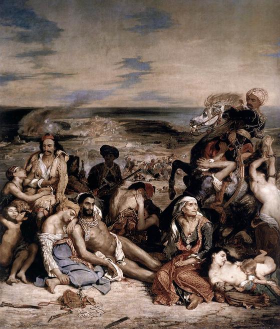 (카오스 섬의 학살 1824) 외젠 들라크루아, 루브르 박물관(파리) ⓒpublic domain(공개도메인) [사진 위키피디아]