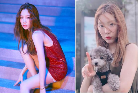 소녀시대 태연이 모습. 짙은 갈색 머리와 금발일 때의 모습을 비교해보면 금발이 확실이 눈에 더 띈다.