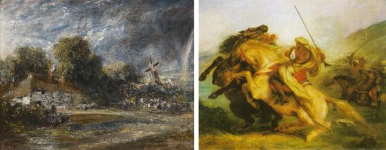 좌) Landscape With a RED-RILED COTTAGE, A windmill and a rainbow 1820년 경 존 컨스타블, 캔버스에 유채 [출처 소더비], 우) Choc de cavaliers Arabes 1833-1834 외젠 들라크루아, 캔버스에 유채 ⓒpublic domain(공개도메인) [출처 위키피디아]