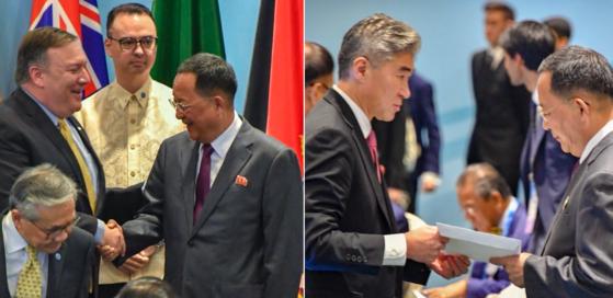 지난달 4일(현지시간) 아세안안보포럼에 참석한 마이크 폼페이오 국무장관이 이용호 북한 외무상을 만나 악수를 나눈 직후(왼쪽), 성 김 주 필리핀 미국대사가 이용호 외무상에 김정은 북한 국무위원장 친서에 대한 도널드 트럼프 대통령의 답신을 전달했다.(오른쪽) [사진 마이크 폼페이오 트위터]