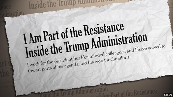 트럼프 행정부의 난맥상과 트럼프 대통령의 비도덕성을 비판한 익명의 NYT 칼럼