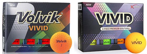 """볼빅(왼쪽)과 엑스페론의 비비드 골프공. 볼빅 측은 '디자인이 비슷하고 회사 이름도 잘 보이지 않아 소비자에게 혼동을 줄 수 있다""""고 주장했다. [중앙포토]"""