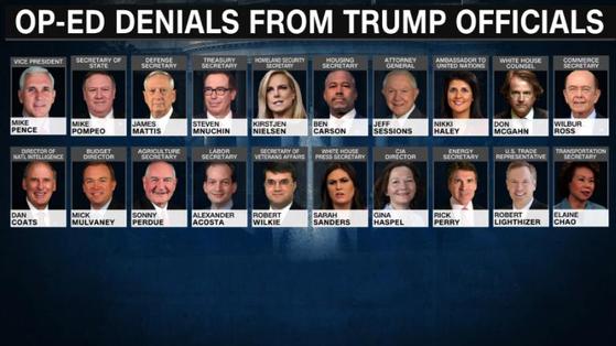펜스 부통령(윗줄 왼쪽), 매티스 국방장관(윗줄 셋째), 코츠 DNI 국장(아래 왼쪽) 등 NYT에 익명 기고문을 보내지 않았다고 밝힌 미 고위 관리들. [CNN방송 캡처]