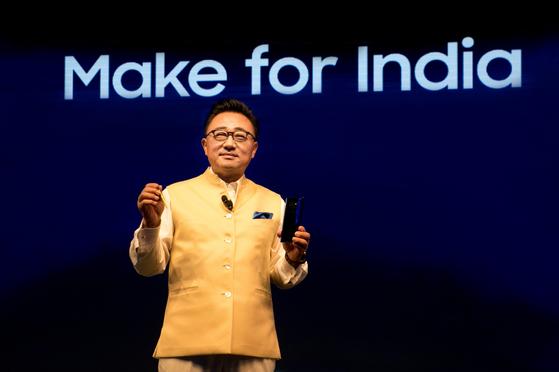 삼성전자 IM부문장 고동진 사장은 22일(현지시간) 인도 뉴델리 인근 구르가온에서'갤럭시 노트9' 출시 행사에 참석하고 있다. [삼성전자 제공]