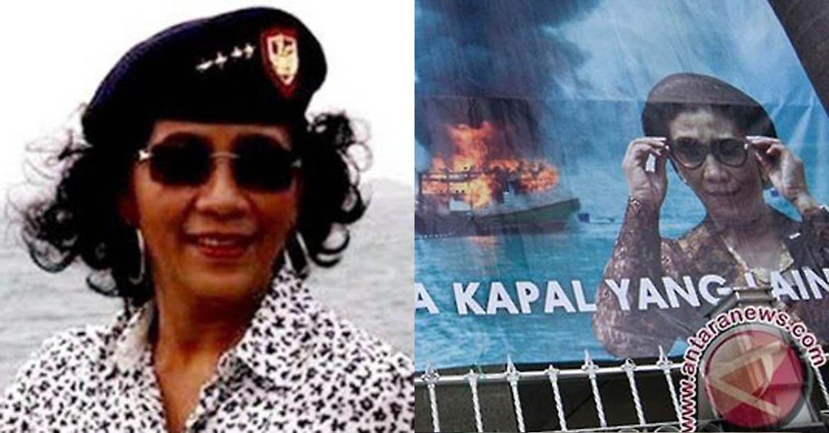 수시 푸지아투티 인도네시아 해양수산부 장관(왼쪽). 오른쪽 사진은 지난 2016년 불타 침몰하는 외국어선과 이를 바라보는 수시 장관모습 [콤파스 홈페이지 캡처, 안타라=연합뉴스]