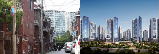 서울 송파구 문정동 136 재건축 구역 현재 모습과 재건축 투시도. 최근 조합원당 평균 재건축부담금 예정액이 5700여만원으로 구청에게 통보받았다.