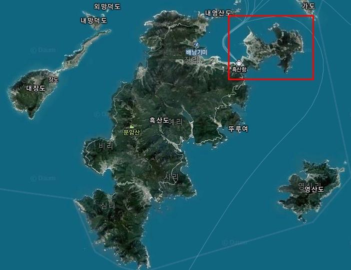 흑산도공항 예정지. 섬의 북동쪽 끝자락에 위치해 있다. [국토교통부]