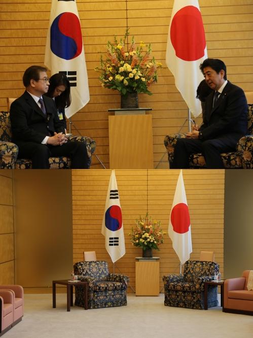 지난 3월 13일 서훈 국정원장이 아베 총리를 만나는 모습(위)과 회담장의 의자(아래). 두 의자의 무늬와 높이가 같다. [연합뉴스]