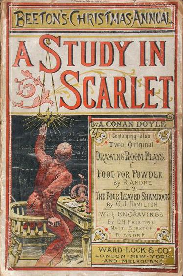 셜록 홈스가 등장하는 첫 작품인 『주홍색 연구』가 게재된 '비튼의 크리스마스 연감'.