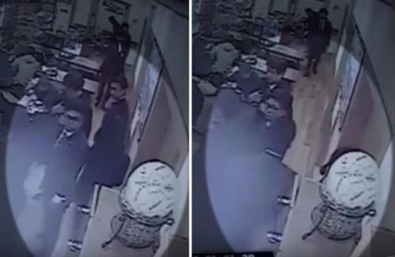'엉덩이 성추행' 사건 당시 상황을 담은 CCTV 영상.