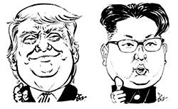 트럼프(左), 김정은(右).