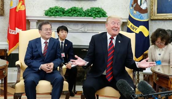 미국 백악관 오벌오피스에서 도널드 트럼프 대통령과 문재인 대통령이 회담을 가진 뒤 기자회견하고 있는 모습. [중앙포토]