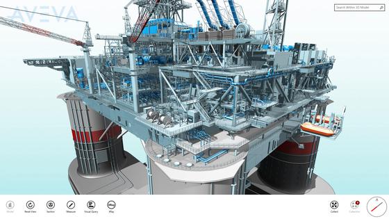 영국 기업 아비바가 터치스크린에 디지털로 구현한 고정식 해양 설비 모습. 모양만 아니라 기술 정보도 실제와 똑같이 들어있다. [사진 아비바]