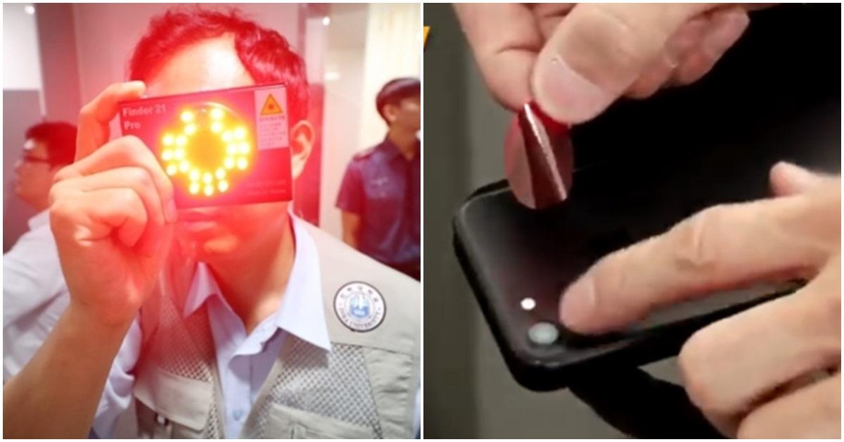 몰래카메라를 수색하는 경찰(왼쪽). [연합뉴스]