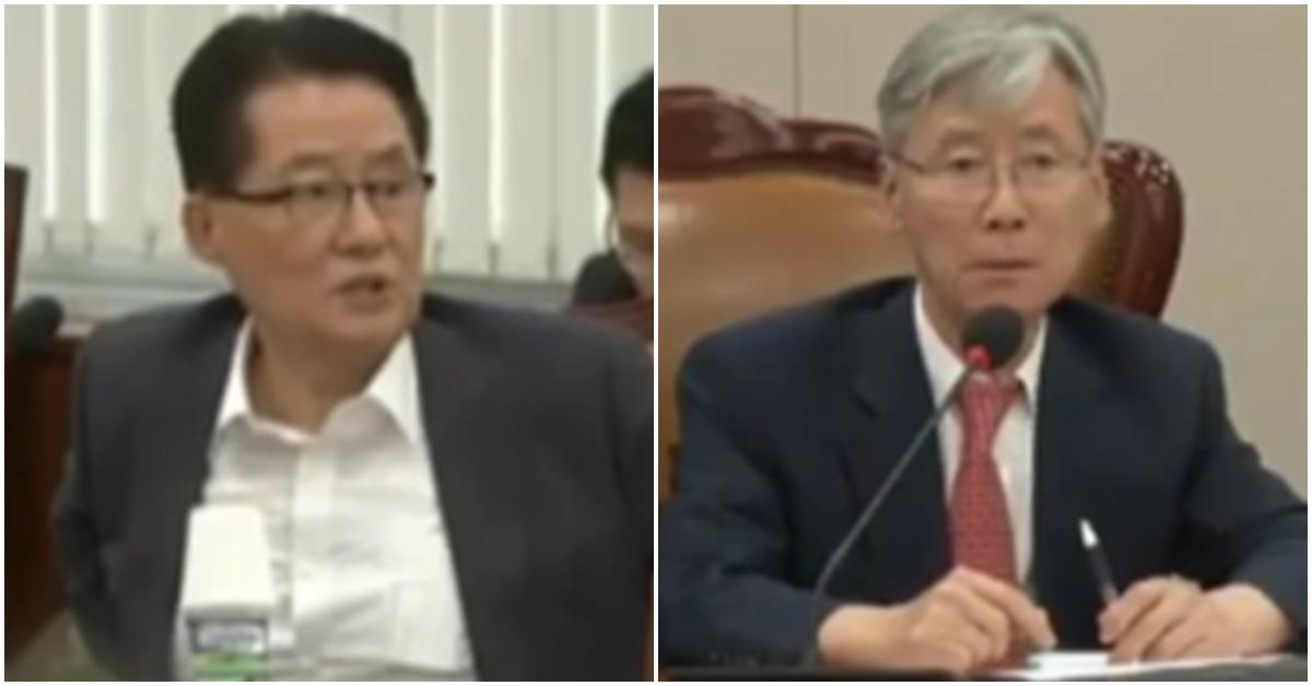 박지원 민주평화당 의원(왼쪽)과 여상규 자유한국당 의원. [사진 JTBC(팩트TV) 방송 캡처]