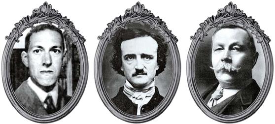 추리·호러소설을 이야기할 때 빠질 수 없는 세 사람의 작가. 왼쪽부터 20세기 호러소설의 제왕 하워드 필립스 러브크래프트, 추리소설의 정석을 만든 에드거 앨런 포, 셜록 홈스의 창조자 아서 코난 도일.