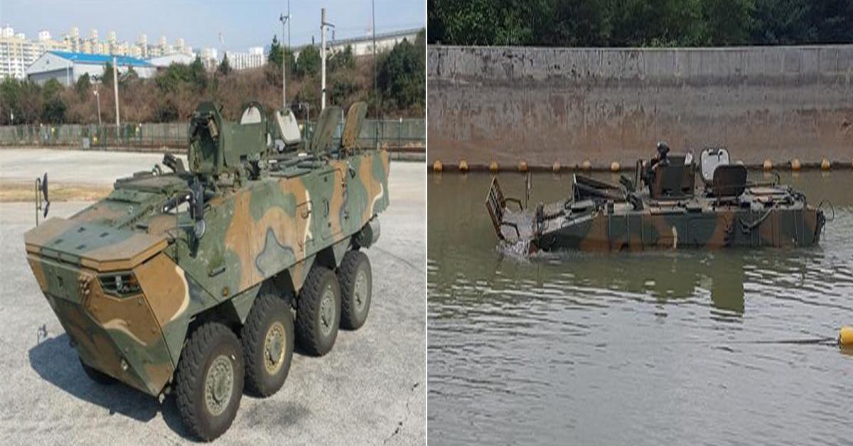 차륜형장갑차 보병전투용(왼쪽)이 물 아래로 건너는 모습(오른쪽) [방위사업청]