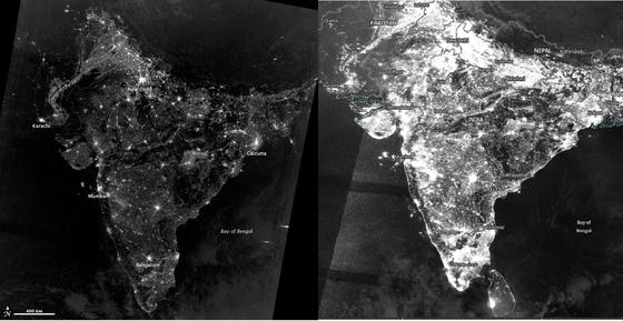 2012년과 2017년 인도의 야간 위성사진. 불과 5년만에 불빛의 강도가 크게 차이난다. [NASA]