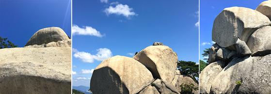 주능선에서 한눈에 만날 수 있는 바위들. 왼쪽부터 하강바위, 코끼리바위, 종바위. [사진 하만윤]