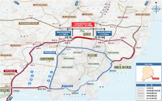 부산 외부순환도로 가운데 산성터널 도로 구간 위치도. [부산시]