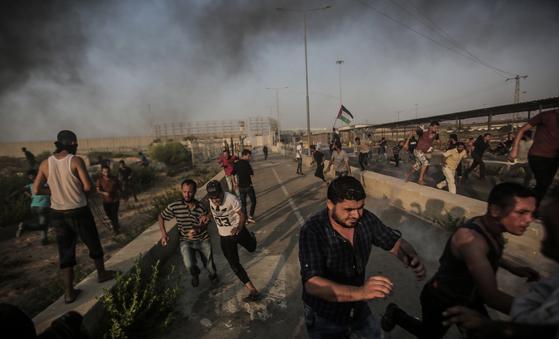 팔레스타인 가자 지구 시위. [EPA=연합뉴스]