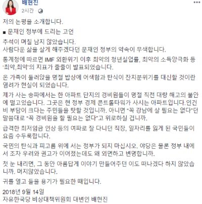 [배현진 자유한국당 비상대책위원회 대변인 페이스북]